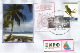 Belle Lettre Du Pavillon Des îles Tuvalu, à L'Expo Universelle Milano 2015 , Timbre  Passereau Tyran Huppé - Tuvalu