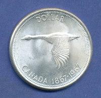 Kanada Silbermünze 1 Dollar 1967 Fliegende Kanada-Gans  23,2g 800er Silber - Canada