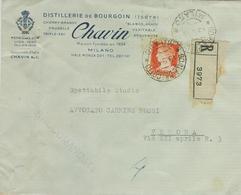 CHAVIN & C, BOURGOIN -MILANO,BUSTA COMMERCIALE,1944 ,TIMBRO POSTE GORLAPRECOTTO,MILANO- EX COMUNE, NOTA - Documenti Storici