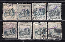 8 VIÑETAS PRO-MALAGA SOBRECARGA CUEVAS BAJAS-OLIAS-RONDA-PERIANA-CUEVAS SAN MARCOS-CUTAR-YUNQUERA-MONTEJAQUE-VER DETALLE - Vignetten Van De Burgeroorlog