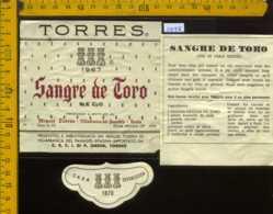 Etichetta Vino Liquore Seco Sangre De Toro 1967 Torres - Spagna - Etichette