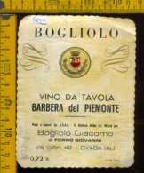 Etichetta Vino Liquore Barbera Del Piemonte Bogliolo - Ovada AL - Etichette