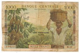 CAMEROUN (Cameroon) 1000 Fr. (1962) VG, SEE SCAN. - Camerún