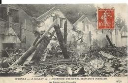 Marne EPERNAY Incendie Des Etablissements Mercier Champagne  Les Ruines Après L'incendie - Epernay
