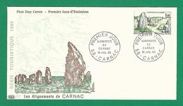 1965 N° 607  PREMIER JOUR 56 CARNAC ALIGNEMENTS DE CARNAC  10 JUIL. 65  OBLITÉRÉ - FDC