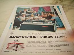 ANCIENNE PUBLICITE FAMILLE ET  MAGNETOPHONE   PHILIPS 1965 - Musique & Instruments