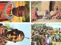 4 Cards - Africa - Kenya - Kenia - Masai Women - Girl - Giriama Dancers - Kenia