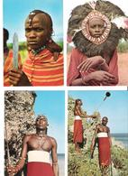 4 Cards - Africa - Kenya - Kenia - Masai - Warrior - Dancer - Kenia