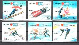 Umm Al-Qiwain 1972 Mi Nr 509 - 514 , Olympische Winterspelen Te Sapporo, Skispringen. Schaatsen. Ijshockey - Umm Al-Qiwain