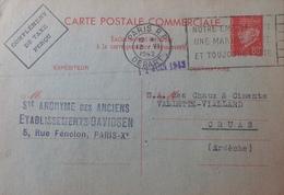 R1591/248 - TYPE PETAIN - ENTIER POSTAL - N°512-CP5 - CP COMMERCIALE - COMPLEMENT DE TAXE - Entiers Postaux