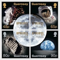 Guernsey 2019 - 50th Anniversary Of The Moon Landings Stamp Set Mnh - Guernsey