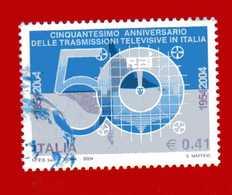 Italia °- Anno 2004 - TRASMISSIONI TELEVISIVE. Unif. 2771.   USATO. - 6. 1946-.. Republik