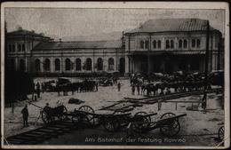 Ansichtskarte Festung Kowno Litauen Bahnhof Mit Stummen Feldpost - Stempel 1917 - Litauen