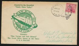 Flugpost Zeppelin USA Brief Marineluftschiff U.S.S. Macon San Jose California - Briefmarken