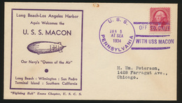 Flugpost Zeppelin USA Brief Long Beach Losangeles Pennsylvania USS Macon - Briefmarken