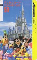 Télécarte Ancienne Japon / 110-6379 B - DISNEY - MICKEY MINNIE DONALD - Japan Front Bar Phonecard - Balken TK - Japon