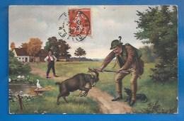 HUMOUR -  CHASSE - CPA -  BOUC - TECKEL - 1908 - Humor