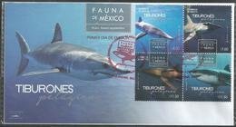 2016 FDC  Fauna De México, Tiburones Pelágicos SOBRE PRIMER DÍA DE EMISIÓN, FDC SHARKS IN MEXICO, MARINE LIFE - Mexico