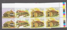 BUDDHISM - VIETNAM  - 2012 - TEMPLE BRIDGES SET OF 3 IN CORNER BLOCKS OF 4  MINT NEVER HINGED SPECIMEN OVERPRINTS - Buddhismus