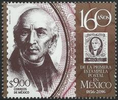 2016 160 Años De La Primera Estampilla Postal  México 1856-2016 MNH MIGUEL HIDALGO 160 Years Of The First Postage STAMP - Mexico
