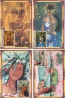 Polynesie - Carte Maximum - 1996 - N°520 à N°523 - Peintres En Polynesie - Cartes-maximum