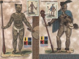Polynesie - Carte Maximum - 1999 - N°584 à N°585 - Tatouages Marquisiens - Cartes-maximum