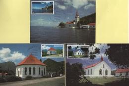 Polynesie - Carte Maximum - 1986 - PA N°193 à N°195 - Edifices Religieux En Polynesie - Cartes-maximum