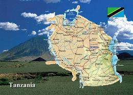 Tanzania Country Map New Postcard Tansania Landkarte AK - Tansania