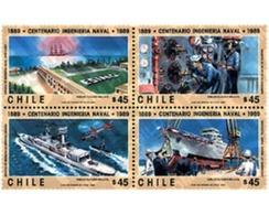 Ref. 6038 * MNH * - CHILE. 1989. CENTENARY OF THE SHIPPING ENGINEERS . CENTENARIO DE LOS INGENIEROS NAVALES - Cile