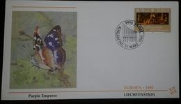 O) 1985 LIECHTENSTEIN - EUROPA, THREE MUSES, BUTTERFLY PURPLE EMPEROR FDC XF - FDC