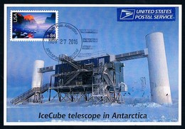 Antarctica • USA • 2016 • Postcard • Amunsden-Scott Station • Ice Cube Telescope - Francobolli