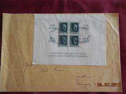 Lettre De 1937  à Destination De Lerring......Bloc Feuillet Avec Inscription Près De Chaque Timbre - Briefe U. Dokumente