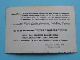 28 Februari Bernadette ( Gustaaf BAELDE-ROEGIERS ) EECLOO 6 Maart 1945 ( Zie Foto ) 7de Kindje ! - Naissance & Baptême