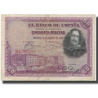 Billet, Espagne, 50 Pesetas, 1928-08-15, KM:75a, TB - [ 1] …-1931 : Eerste Biljeten (Banco De España)