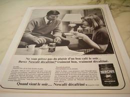 ANCIENNE PUBLICITE PLAISIR D UN BON CAFE LE SOIR  NESCAFE DECAFEINE  1965 - Affiches