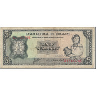 Billet, Paraguay, 5 Guaranies, 1963, Undated (1963), KM:195b, TB - Paraguay