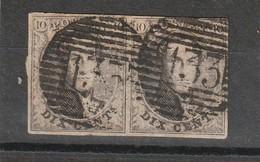 COB N° 6 En Paire Margé Oblitération P133 Ypres - 1851-1857 Médaillons (6/8)
