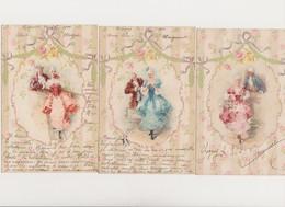 3 Cartes Fantaisie Dessinées / Couples.; Costumes XVIIIè - Paare