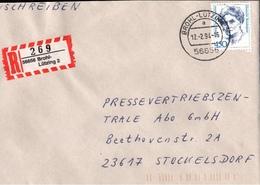 ! 1 Einschreiben  Mit R-Zettel 1994, Aus 56656 Brohl Lützing, Neue Postleitzahl - BRD