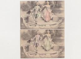 2 Cartes Fantaisie Dessinées / Couple ; Départ Sur Une Gondole / Costumes XVIIIè - Paare