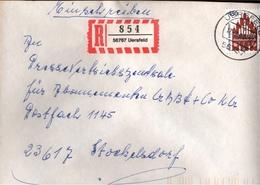 ! 1 Einschreiben  Mit R-Zettel 1994, Aus 56767 Uersfeld, Neue Postleitzahl - Etiquettes 'Recommandé' & 'Valeur Déclarée'