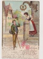 Carte Fantaisie Gaufrée / Couple / Ein Liebliches Mädchen - Paare