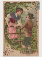 Carte Fantaisie Gaufrée / Couple En Costume Tyrolien - Paare