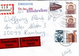 ! 1 Einschreiben Mit Eilzustellung, R-Zettel 1996, Aus 57399 Kirchhundem, Neue Postleitzahl - [7] Repubblica Federale