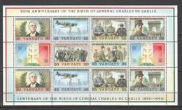 S551 1990 VANUATU FAMOUS PEOPLE CENTENARY DE GAULLE #845-50 !!! MICHEL 18 EURO !!! 1SH MNH - De Gaulle (Generaal)