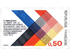 Ref. 122595 * MNH * - FRANCE. 1973. 10th ANNIVERSARY OF FRENCH-GERMAN COOPERATION TREATY . 10 ANIVERSARIO DEL TRATADO SO - Francia