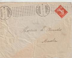 Lettre 1916 De Paris 43 Oblit. Chambon Pour Avranches - 1877-1920: Semi-Moderne