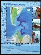 ARGENTINA, 2018, MNH, CONTINENTAL SHELF, SHIPS,  MAPS, CRUSTACEANS, S/SHEET - Polarmarken