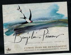 Etiquette De Vin // Beaujolais Primeur, Oiseaux - Etiquetas