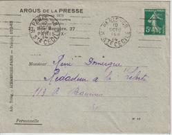 Lettre 1914 De Paris 48 Oblit. Garcia Pour Paris. Lettre Argus Presse Avec Les Extraits - 1877-1920: Periodo Semi Moderno